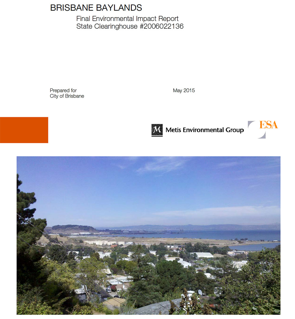 Brisbane Baylands - Final Environmental Impact Report State Clearinghouse